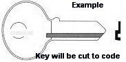 1 01 001 Key for KASON REFRIGERATOR LOCKS and CORBIN LOCKS **