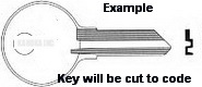 J1 Key for SNAP ON and COMPX Locks ONLY Single Sided