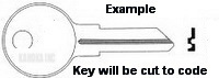 1 01 Key for DELTA Tool box and KENNEDY TOOL BOXES