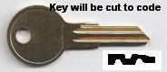 1 GH1 Key for DECORAH, C T Johnson Trailer Locks, HURD