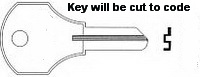 K189 Single Sided Key, CORBIN 5 WAFER LOCK, KENNEDY TOOLBOX
