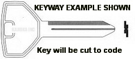 H1 Key for A.R.E. Handles using newer Strattec 7 Wafer Locks